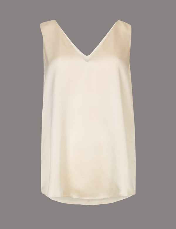 0f396f65db9 Pure Silk Sleeveless Vest Top | Autograph | M&S
