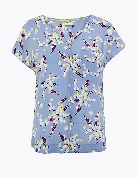 Cupro V Neck Floral Print Shell Top