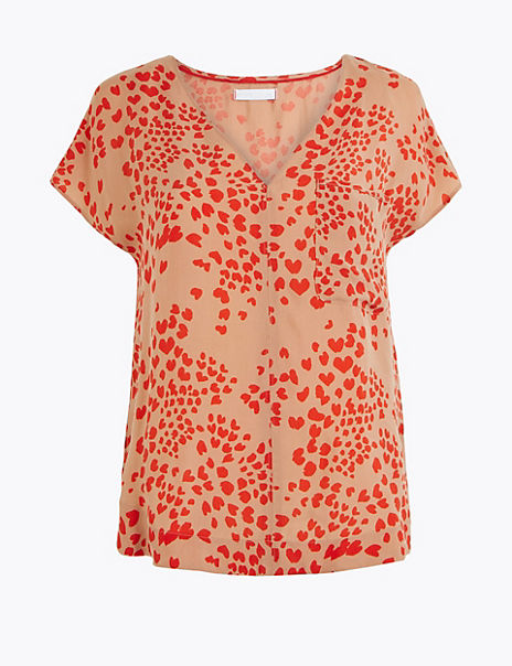 Cupro V-Neck Heart Print Shell Top