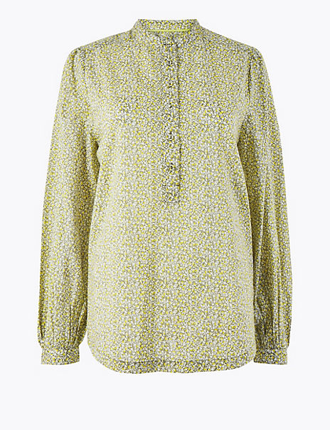 Pure Cotton Ditsy Floral Popover Blouse