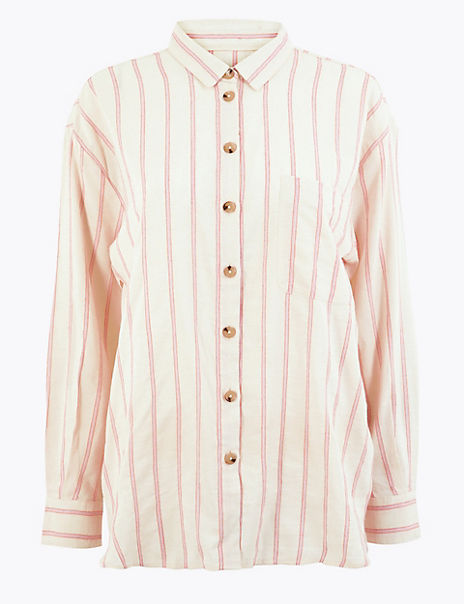 Cotton Blend Striped Shirt