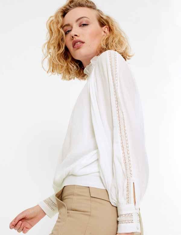 f643cd4fc5cdb6 Lace Insert High Neck Long Sleeve Blouse