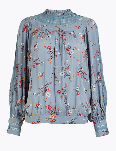 Lace Insert High Neck Floral Blouse