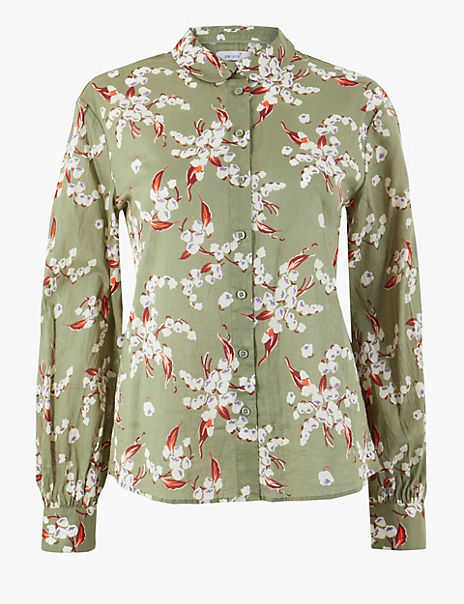 Floral Peplum Back Long Sleeve Shirt
