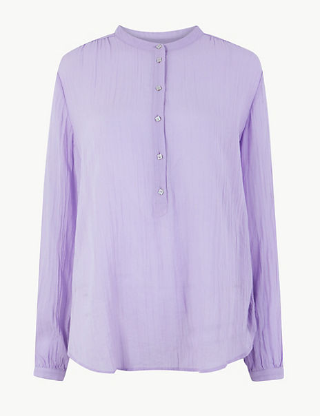 Pure Cotton Collarless Popover Blouse