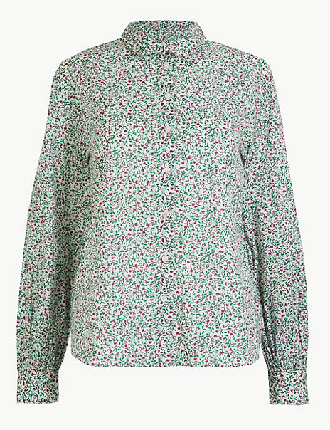 Pure Cotton Ditsy Floral Peplum-Back Shirt