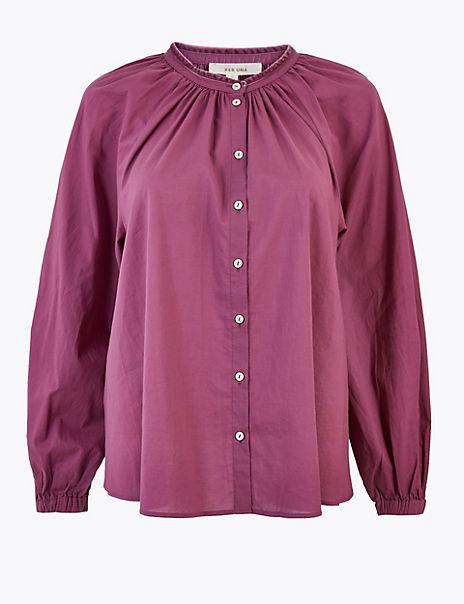 Pure Cotton Blouson Sleeve Blouse
