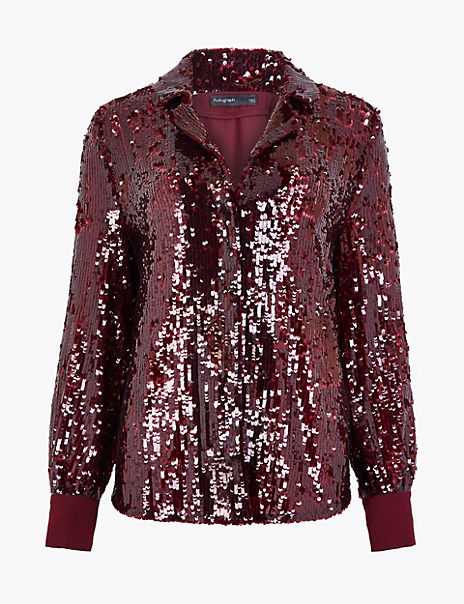 Sequin Revere Collar Shirt