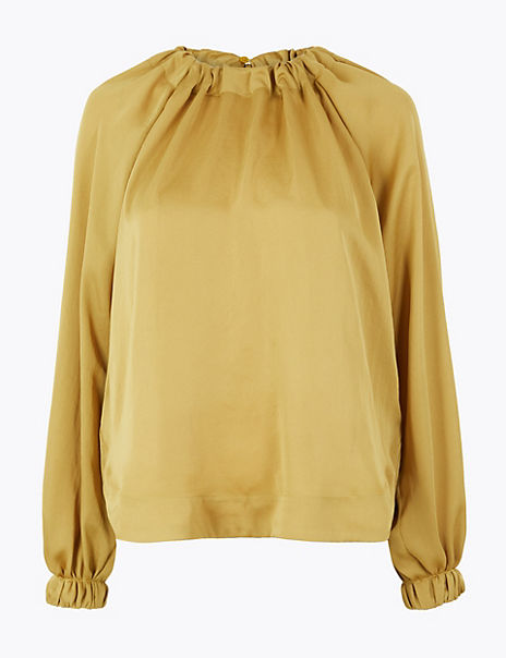 Satin Gathered Neck Oversized Blouse