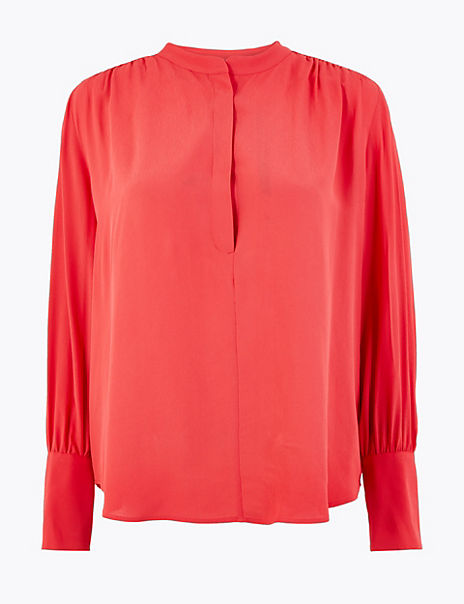 Crepe High Neck Blouse