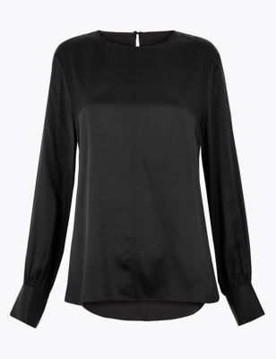 Pure Silk Blouson Sleeve Shell Top by Marks & Spencer