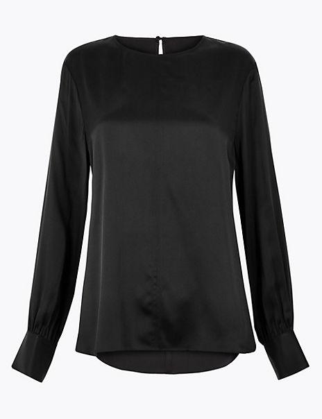 Pure Silk Blouson Sleeve Shell Top