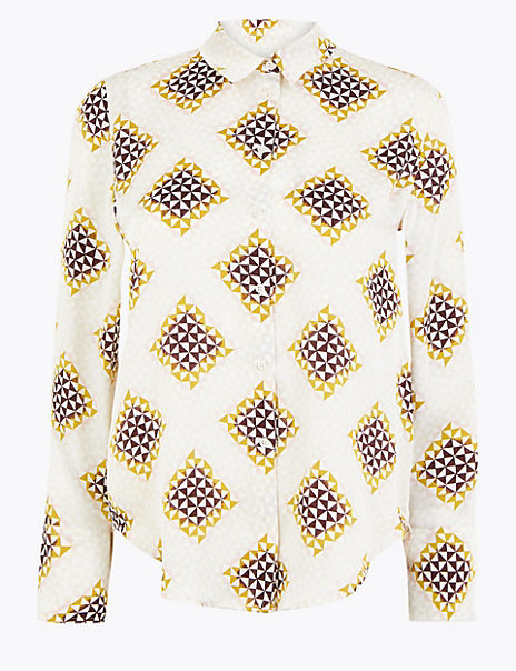 Satin Geometric Print Shirt