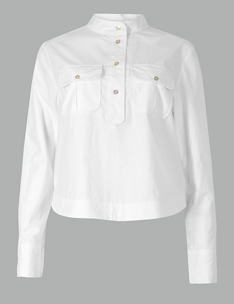 Pure Cotton Button Detailed Shirt