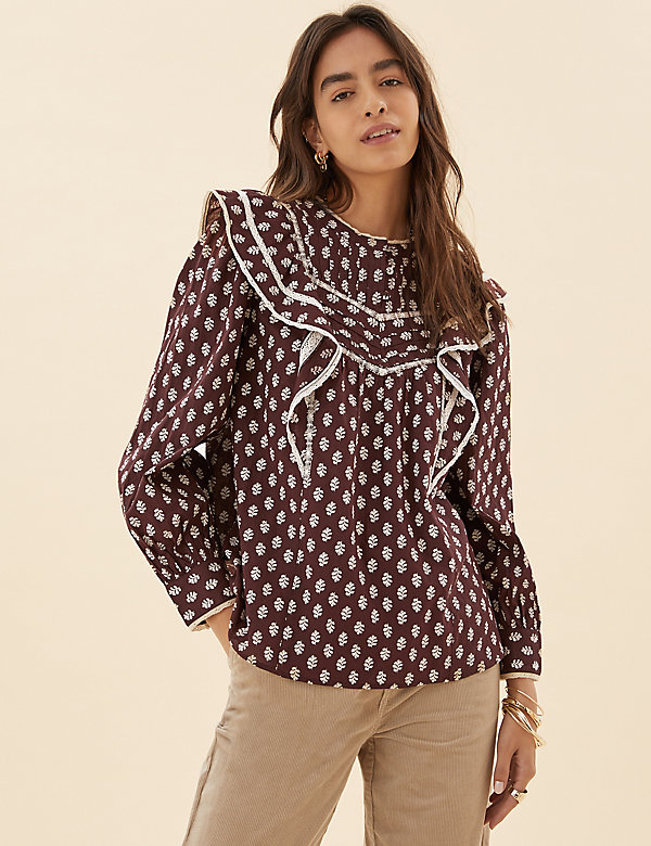 Pure Cotton Printed Lace Insert Blouse