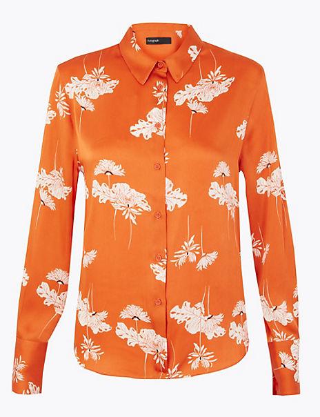 Satin Floral Print Shirt