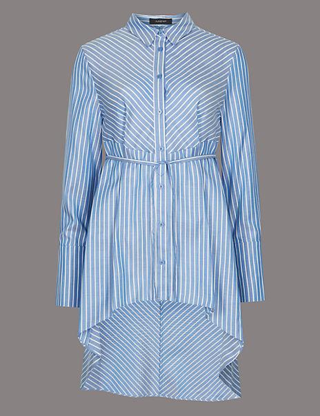 Pure Cotton Striped Dipped Hem Shirt