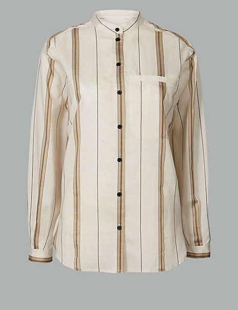 Striped Long Sleeve Shirt with Linen