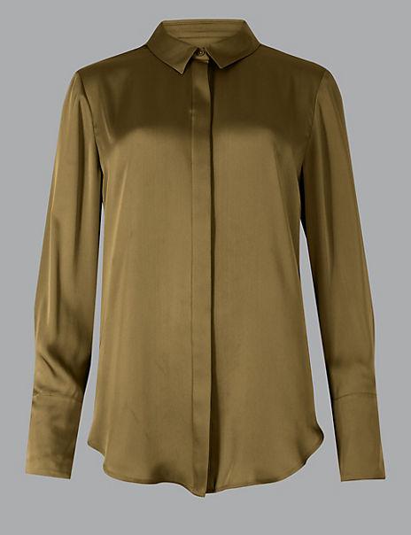Satin Button Detailed Shirt