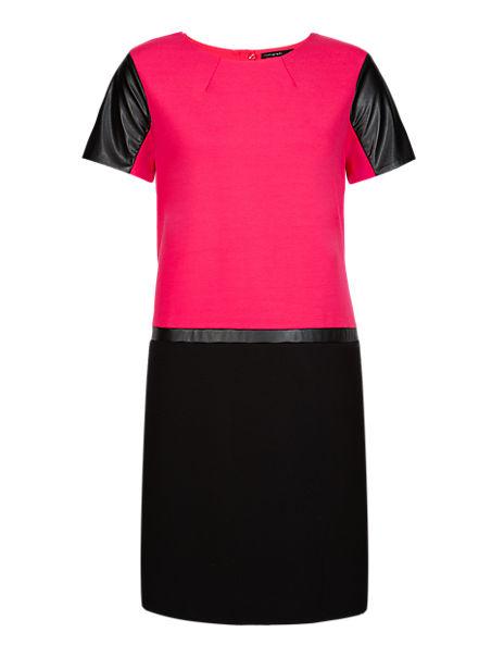 Faux Leather Trim Ponte Tunic Dress
