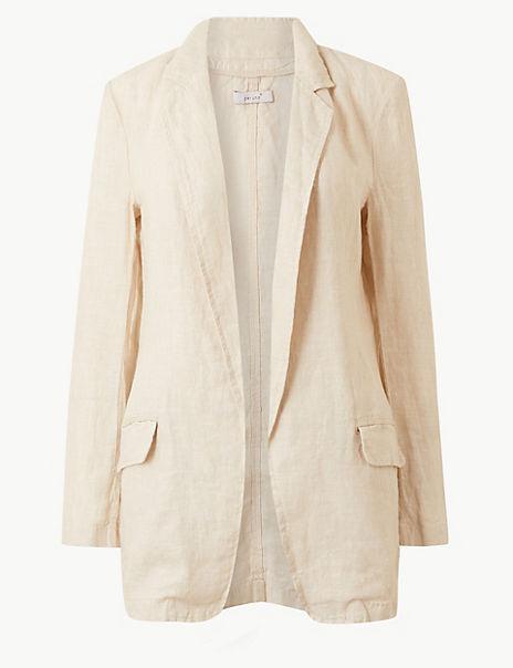 Pure Linen Open Front Blazer