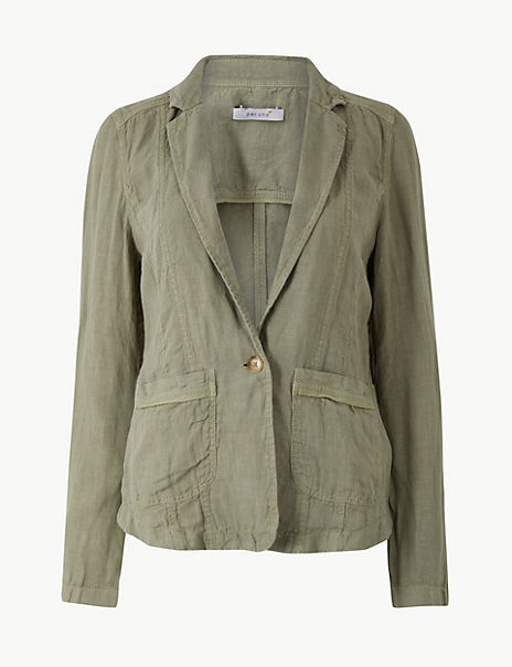 Pure Linen Single Breasted Short Jacket