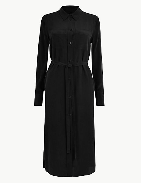 Pure Silk Midi Shirt Dress