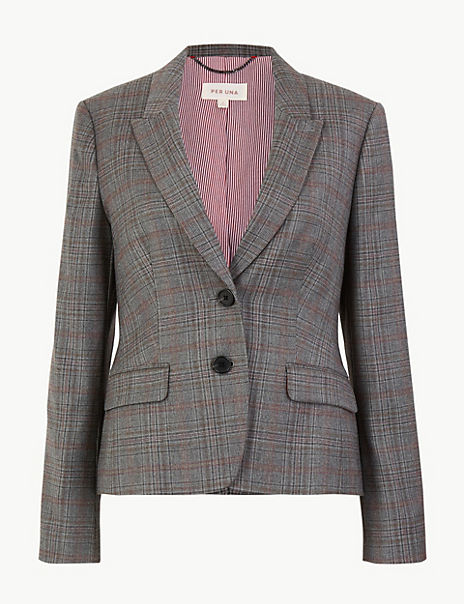 Wool Blend Checked Slim Fit Blazer
