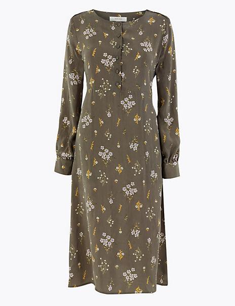 Cupro Ditsy Relaxed Midi Dress