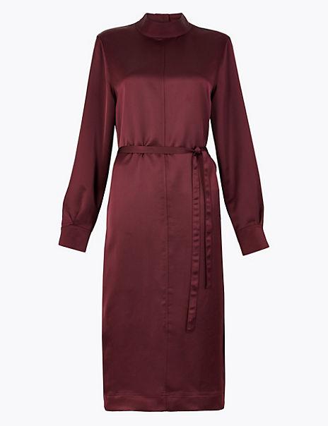High Neck Satin Midi Dress