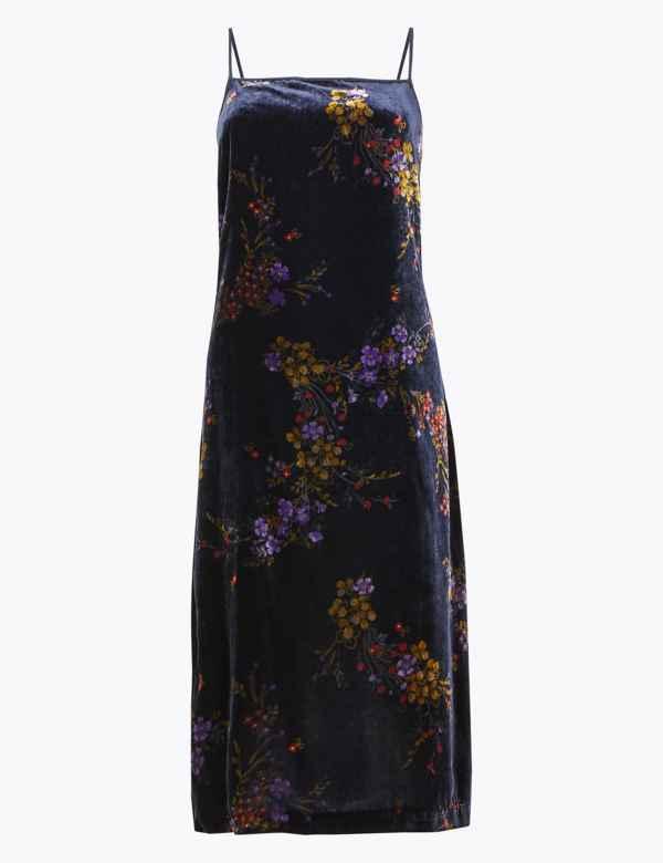 Velvet Floral Print Slip Midi Dress