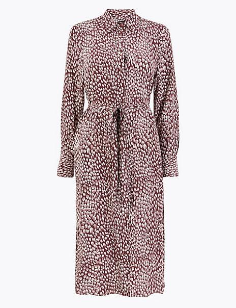 Pure Silk Printed Shirt Midi Dress