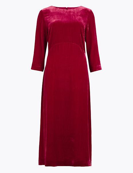 Velvet Fit & Flare Midi Dress with Silk