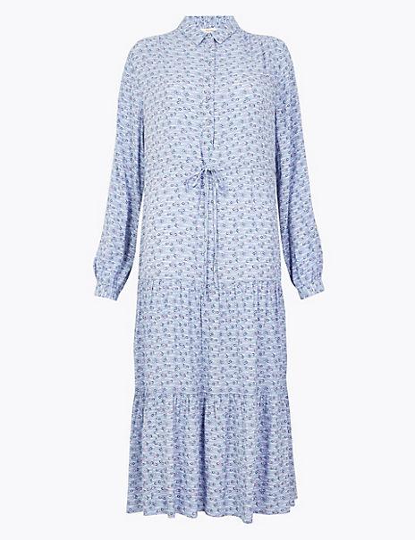 Printed Tiered Midi Shirt Dress