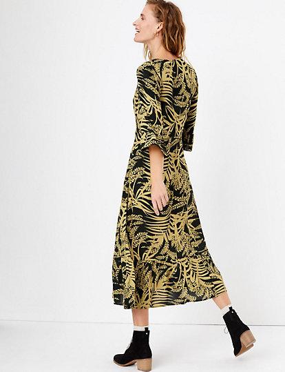 New Marks /& Spencer 3//4 Sleeve Palm Print Maxi Dress Uk Size  6-22