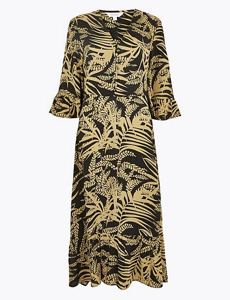 Leaf Print Frill Sleeve Midi Dress