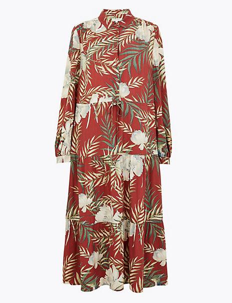 Tropical Print Shirt Midi Dress