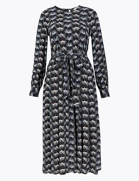Printed Tie Waist Midi Dress