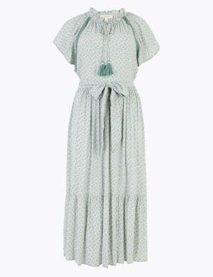 Crepe Printed Frill Detail Midi Dress