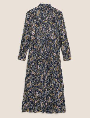 Floral High Neck Midaxi Waisted Dress