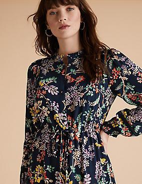 Floral High Neck Pintuck Midaxi Smock Dress