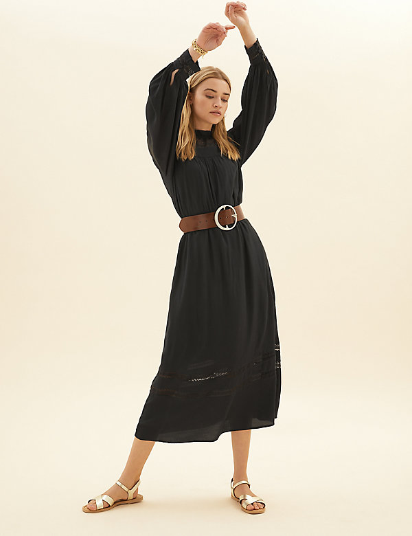 High Neck Lace Insert Midaxi Relaxed Dress