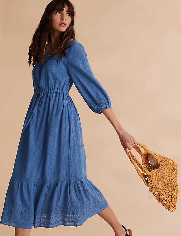 Pure Cotton Embroidered Midi Waisted Dress