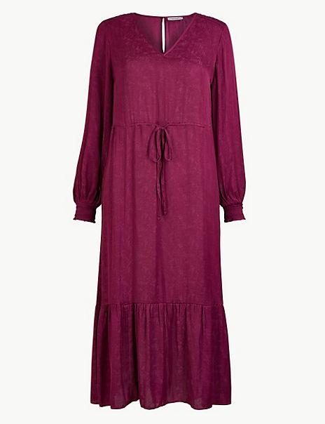 Printed Smock Waisted Midi Dress