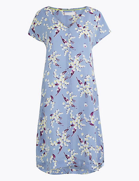 Cupro Floral Print V Neck Dress