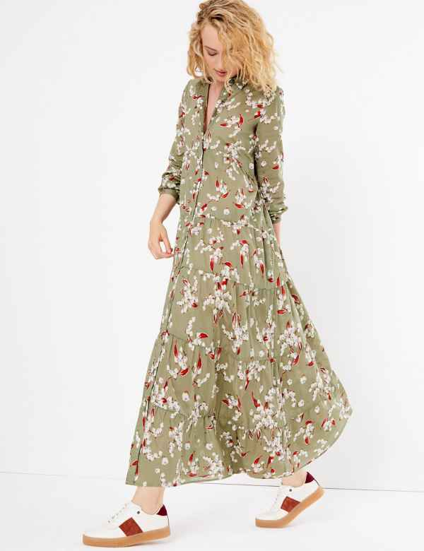 b58f9253ab2693 Pure Cotton Floral Print Shirt Maxi Dress