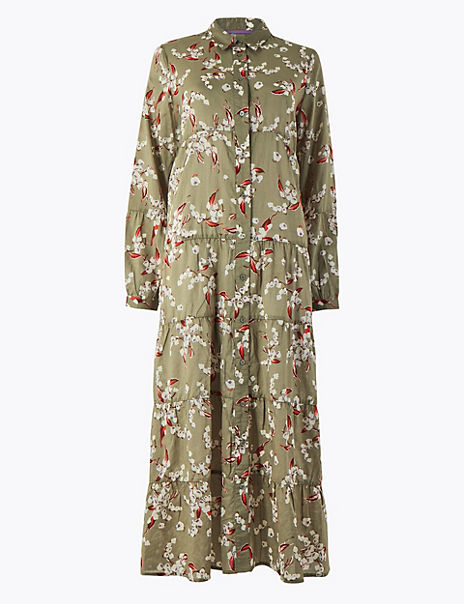 Pure Cotton Floral Print Shirt Dress