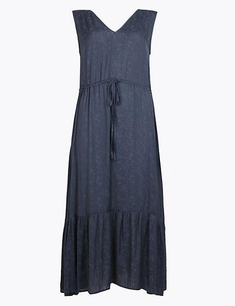 Satin Jacquard Waisted Midi Dress