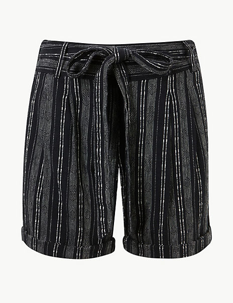 Linen Blend Striped Casual Shorts