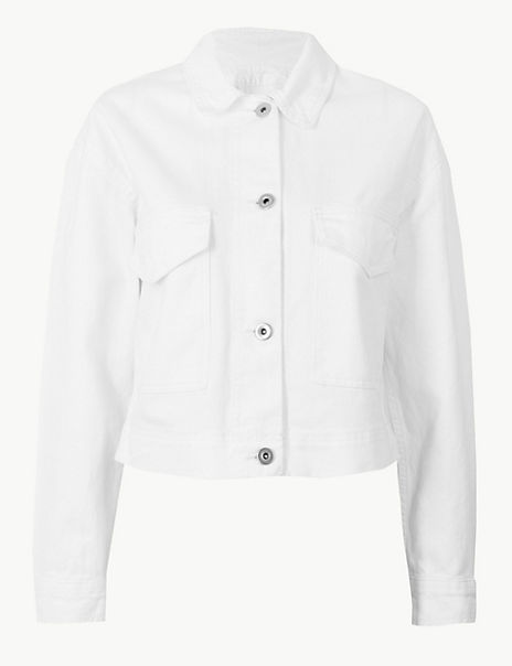 Pure Cotton Cropped Utility Jacket